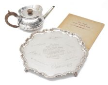 A George V presentation silver salver and teapot
