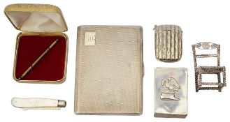 A George VI silver engine turned cigarette case and other silver items