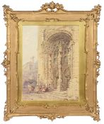 Manner of Samuel Prout (Brit., 1783-1852), 'Cathedral door with figures', watercolour