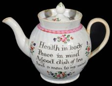 A pearlware teapot and cover c.1800