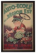 A vintage French advertising poster for a driving school,