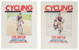 Two original illustrated cover designs for the July 9 1987 issue of Cycling Weekly