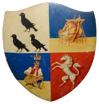 Deptford coat of arms painted armorial wooden wall plaque