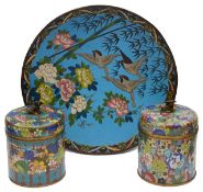 Early 20th c. Chinese cloisonnŽ enamel covered jars; Japanese Meiji period cloisonnŽ enamel charger