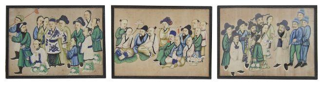 Three 19th century Chinese export paintings