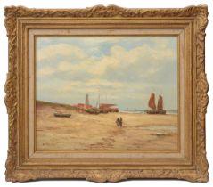 Helmut Reuter (German, 1913-1985) 'Low tide on a beach', oil on canvas