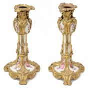 A pair of late 19th c. Fr. ormolu mounted porcelain candlesticks