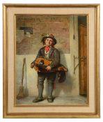 Italian School (late 19th c.), 'Hurdy-gurdy player', oil on canvas, in modern gilt frame,