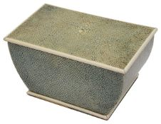 An Art Deco shagreen and ivory table cigarette box