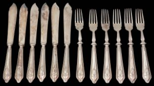 A set of six modern silver fish knives and forks