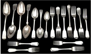 A collection of George III and later silver mostly fiddle pattern flatware