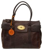 A Mulberry dark brown Bayswater leather handbag