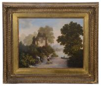 Attrib. to Robert Woodley Brown (fl. 1840-1860) 'Woodland landscape with a ruin' oil on canvas