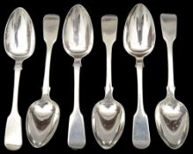 A set of six George IV fiddle pattern dessert spoons