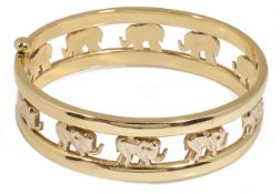 A contemporary Continental hinged gold elephant bangle