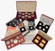 Collection of mostly silver and other proof coins and a set of London Fire Brigade Historic Badges