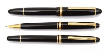 A Mont Blanc Meisterstuck fountain pen, ballpoint pen and propelling pencil,