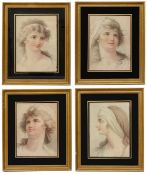 A set of four early 19th c. colour stipple engraving portraits of young women c.1810