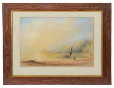 Attrib. to John le Capelain, (Jersey 1812-1848), 'Beach with sailing vessel', watercolour