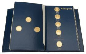 Franklin Mint - The Kings ands Queens Collection of forty three silver gilt medallions