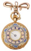 A Continental ladies gold and enamel half hunter fob watch