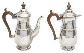 A George V two piece silver cafe au lait set,