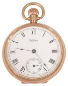 A 9ct gold open faced Waltham pocket watch