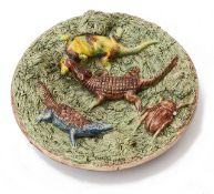 A late 19th c. Portuguese Manuel Mafra Caldas pottery majolica 'Palissy' style wall plate