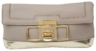 An Anya Hindmarch leather taupe and gold evening clutch bag