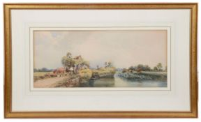 Brit. School, late 19th c.,two landscapes depicting hay wains, watercolour