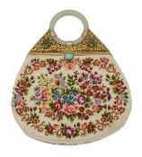 A Chinese export jade bangle petit point hand bag