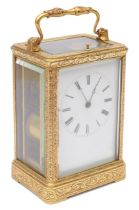 Mid 19th c. Fr. engraved gilt brass case carriage clock by Auguste, Paris c.1845