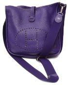 An Hermes purple Clemence Evelyne cross body bag