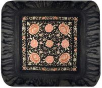 An early 20th century Chinese embroidered black silk piano shawl