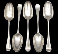 Five George II/III silver Old English pattern tablespoons