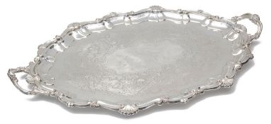 A late Victorian large silver twin handled tray