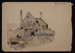 Thomas Barclay Hennell RWS (1903-1945) 'A sketch of a tile hung house, Otford Kent', watercolour