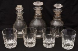 A set of four Victorian 'Last Drop' whisky tumblers c.1870 and three early 19th c. decanters