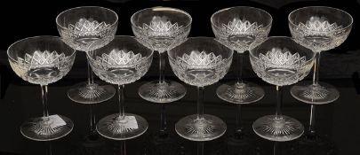 A set of eight late Victorian champagne glasses