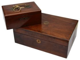 An early 19th c. rosewood work box and a late 19th c. teak cash/strong box