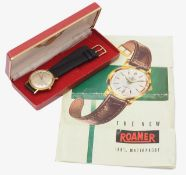 A Gentleman's Roamer Rotodate 44 automatic gold plated wristwatch
