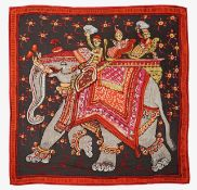 An Hermes silk and cashmere shawl 'Beloved India from Hermes Paris'