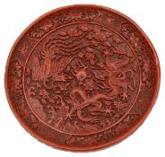 A Chinese cinnabar lacquer round plate