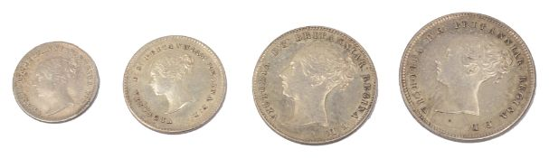 Victoria 1859 four coin Maundy set, young head