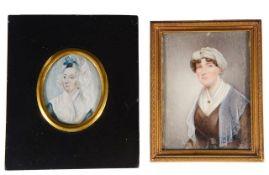 British School two portrait miniatures