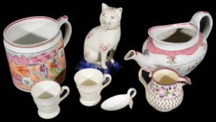A New Hall Boy at the Window cider mug, pattern No 425 c.1810 and other mostly 19th c. ceramics