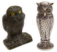 A labradorite carving of an owl perched on log and a continental silver plated desk seal