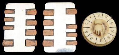 Two late Vict. silver and wood whist markers and an ivory example