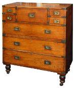 A late 19th century brass bound teak campaign secretaire chest