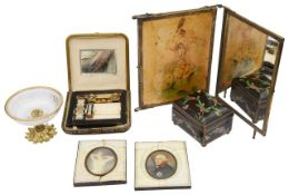 A mixed lot to include portrait miniatures